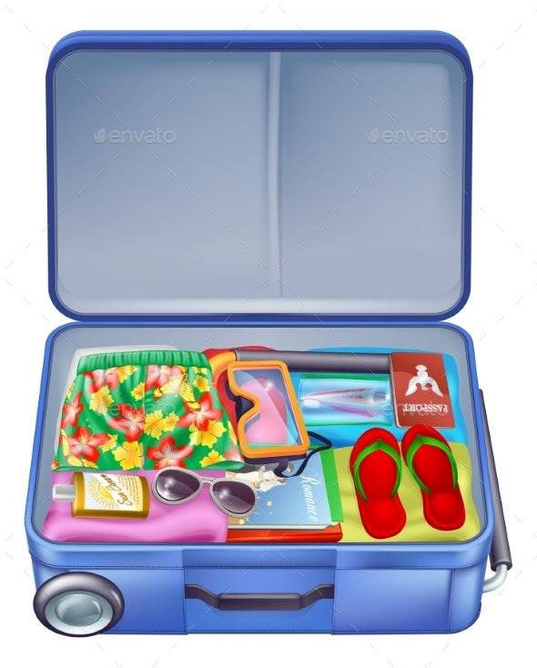 Full Holiday Vacation Suitcase - Seasons/Holidays Conceptual