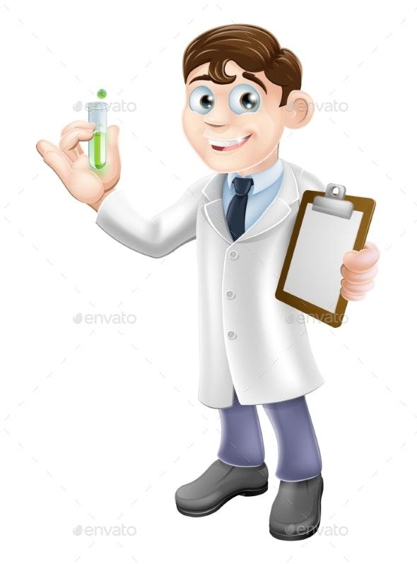 Scientist Cartoon - Technology Conceptual