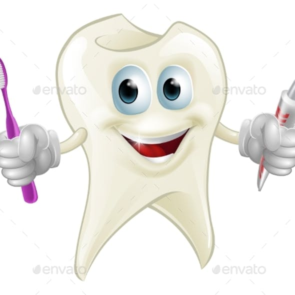 Tooth Man Holding Paste and Brush