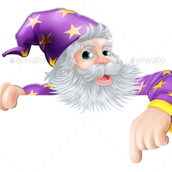 Wizard Pointing Down at Sign