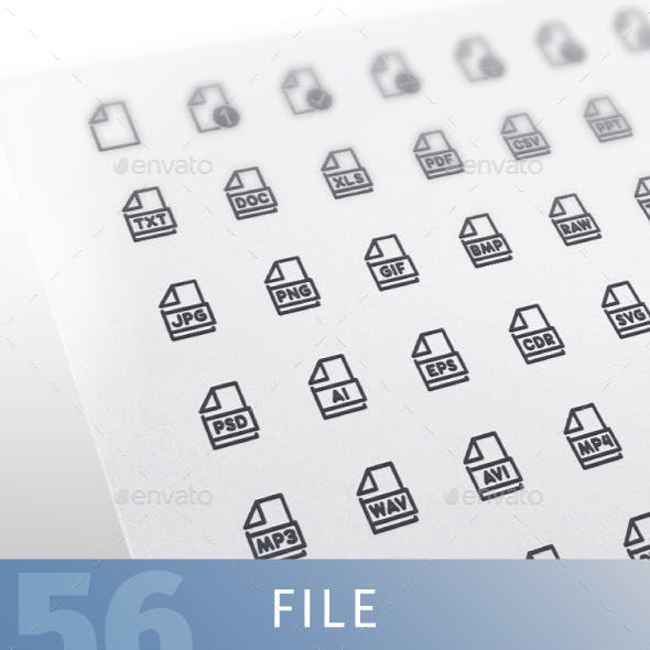 File Line Icons Set