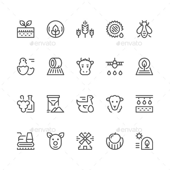 Set Line Icons of Farming and Agriculture - Man-made objects Objects