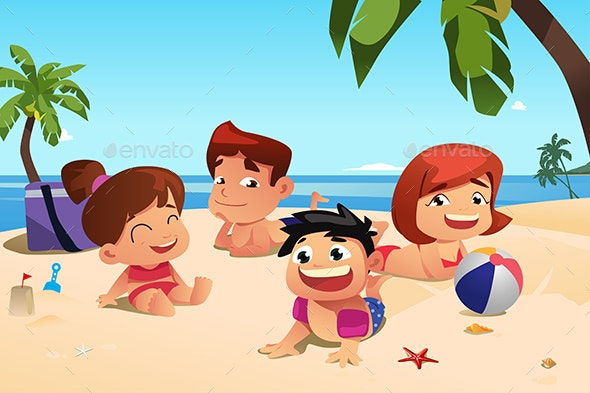 Happy Family Having Fun on the Beach - People Characters