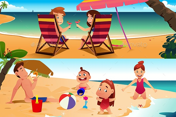 Family Having Fun on the Beach - People Characters