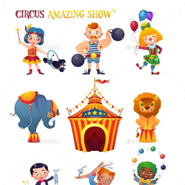 Circus Cartoon Characters.