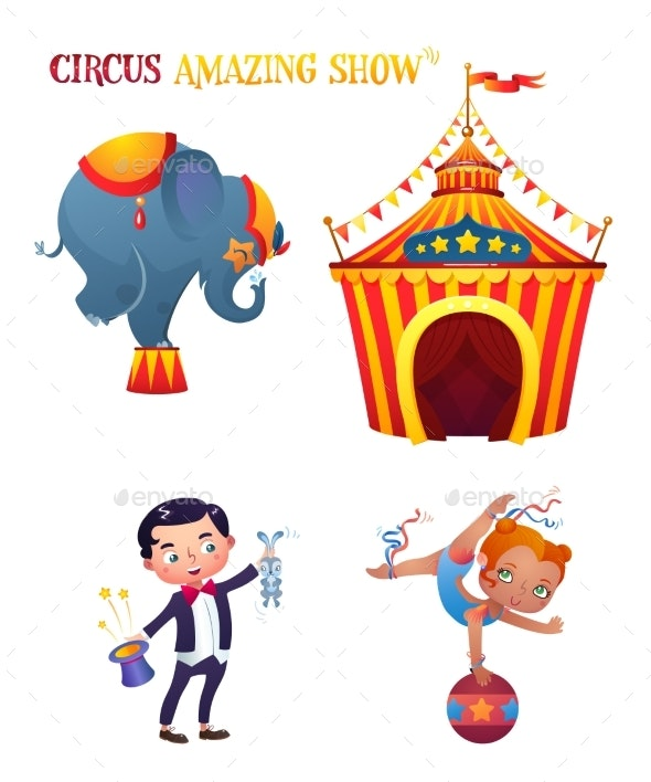 Circus Cartoon Characters. - People Characters