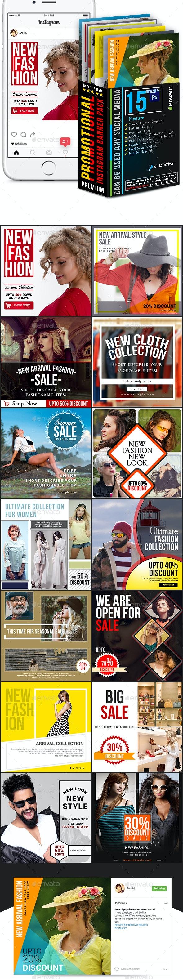 Promotional Instagram Banner Pack - Social Media Web Elements