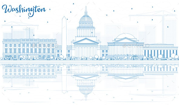 Outline Washington DC Skyline with Blue Buildings and Reflections - Buildings Objects