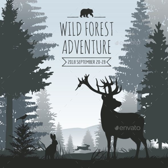 Wildlife Foggy Coniferous Forest Vector Background