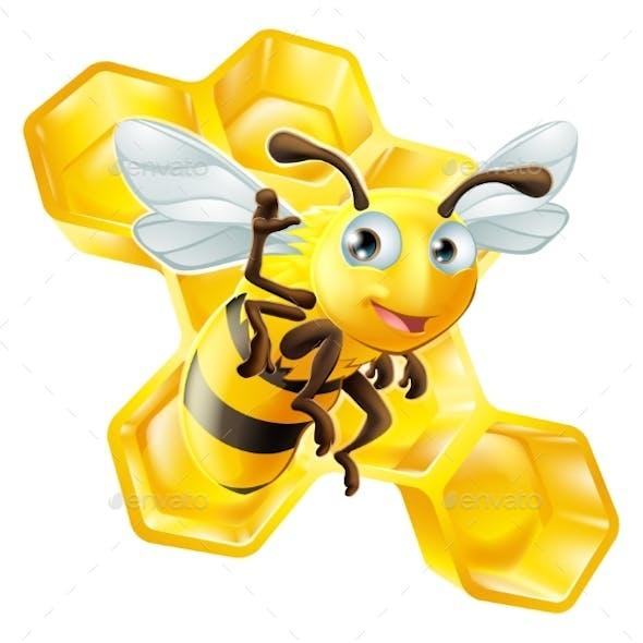 Cartoon Bee and Honeycomb