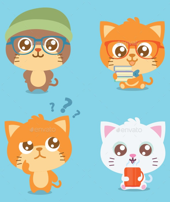 Cat Set Illustration - Animals Characters