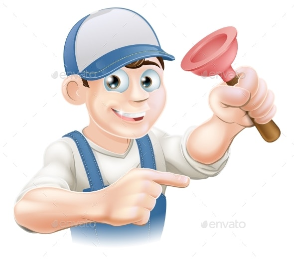 Cartoon Janitor or Plumber - People Characters
