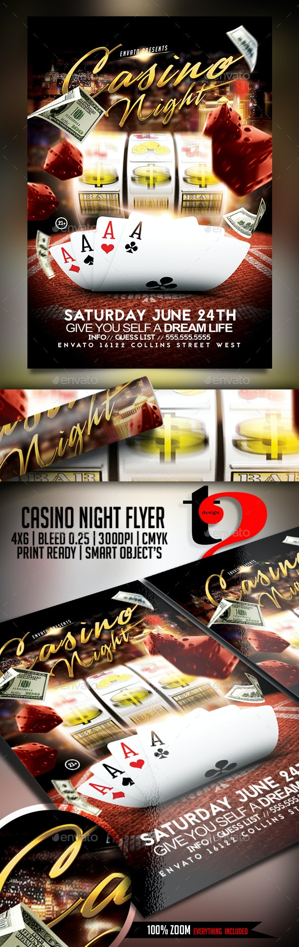 Casino Night Flyer Template - Clubs & Parties Events