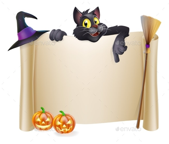 Halloween Scroll with Cat - Miscellaneous Seasons/Holidays