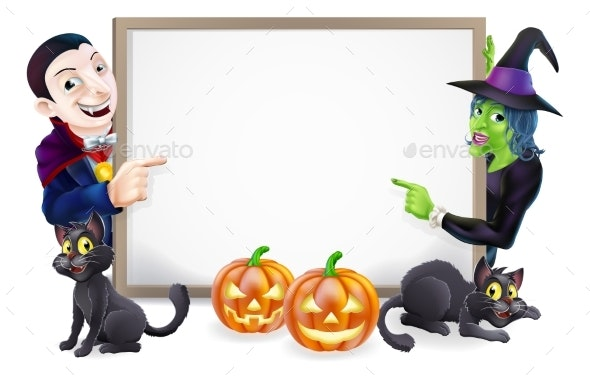 Halloween Dracula and Witch Sign - Miscellaneous Vectors
