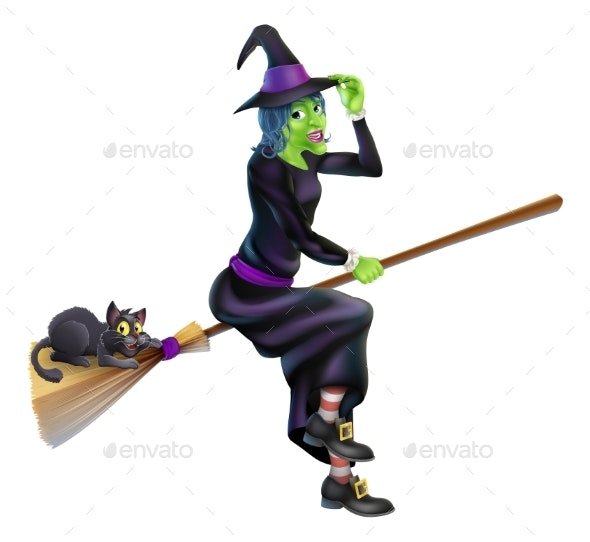 Witch on Broom with Black Cat - Animals Characters