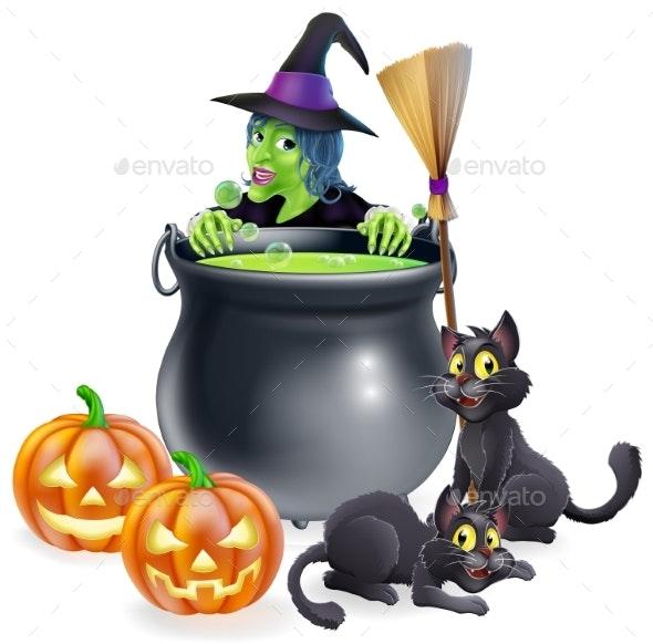 Witch Halloween Scene - Miscellaneous Seasons/Holidays