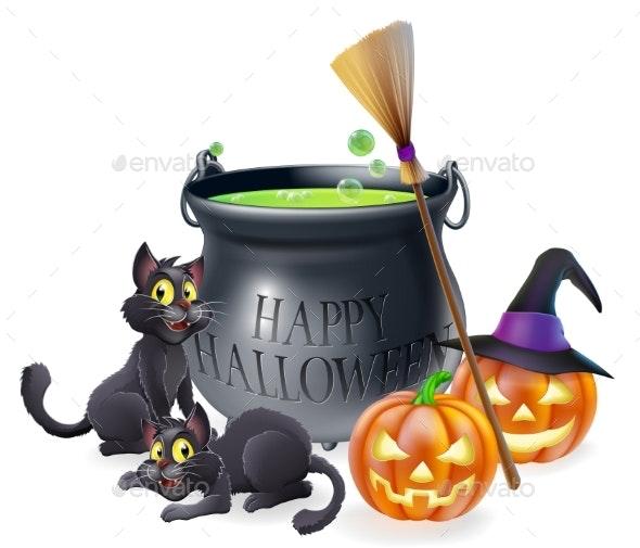 Happy Halloween Cartoon Illustration - Miscellaneous Vectors