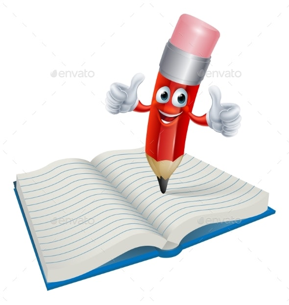 Cartoon Pencil Man Writing in Book - Miscellaneous Vectors