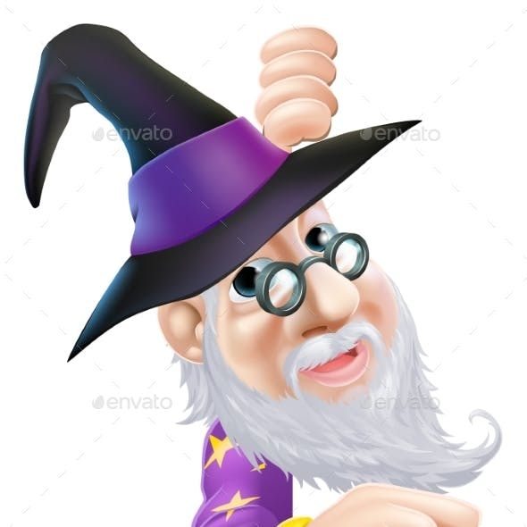 Wizard Peeping Around Sign