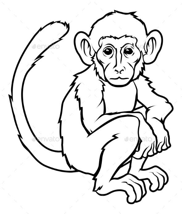 Stylized Monkey Illustration - Animals Characters