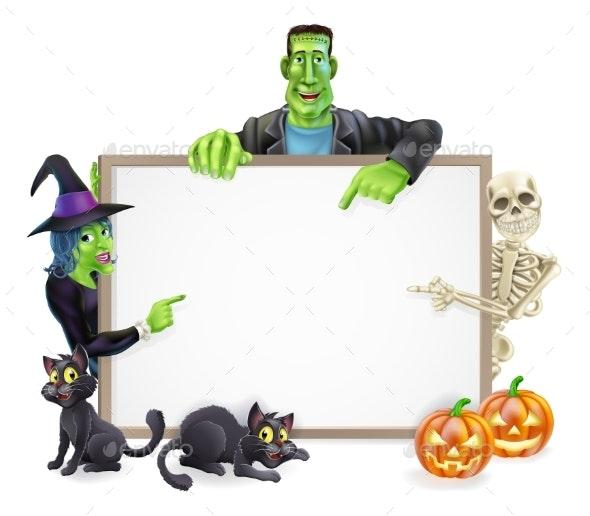 Halloween Monsters Background Sign - Miscellaneous Vectors