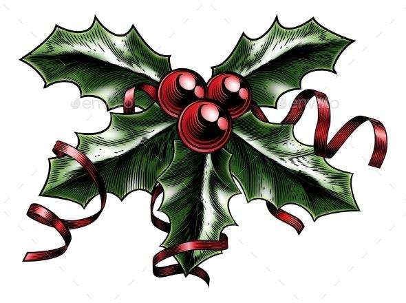 Vintage Christmas Holly Illustration - Christmas Seasons/Holidays