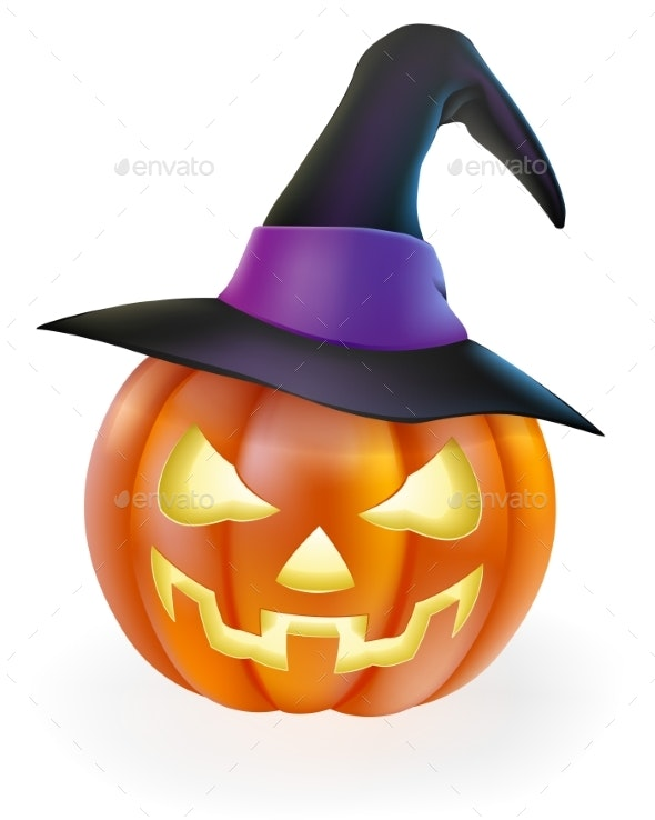 Halloween Pumpkin in Witch Hat - Miscellaneous Seasons/Holidays