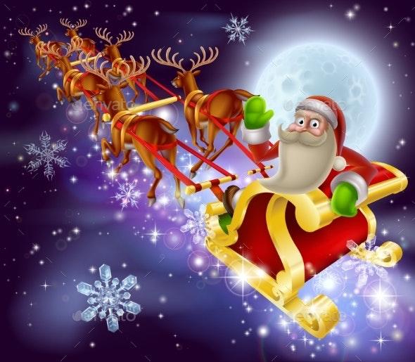 Santa Claus Sleigh Christmas Scene - Christmas Seasons/Holidays