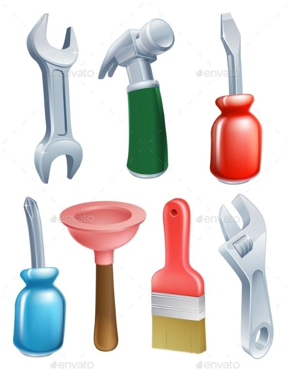 Cartoon Tools Icons Set - Miscellaneous Vectors