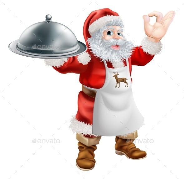 Santa Cooking Christmas Dinner Concept - Food Objects