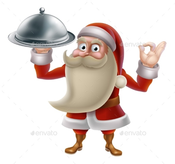 Santa Cooking Christmas Food - Food Objects