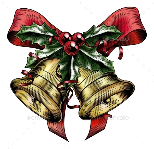 Vintage Etching Christmas Holly Bow - Christmas Seasons/Holidays