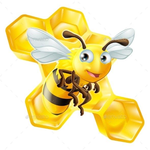 Cartoon Bee and Honey Comb
