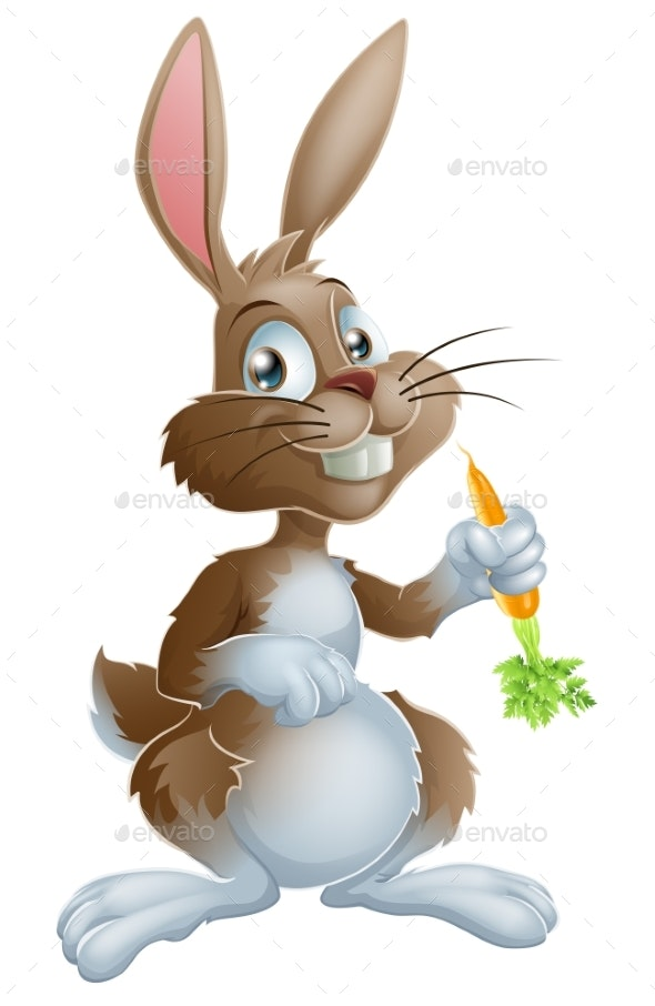 Bunny Rabbit and Carrot - Animals Characters