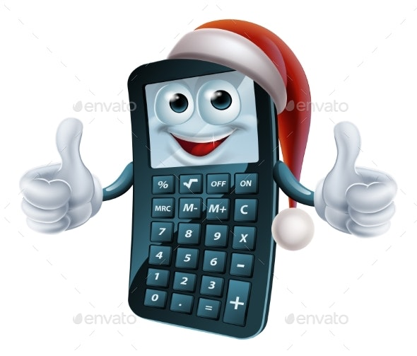 Calculator Math Christmas Character - Concepts Business