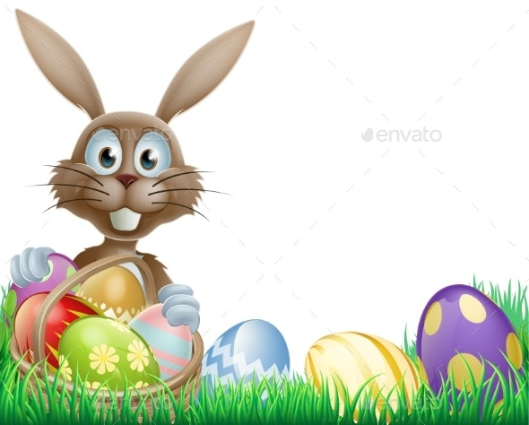 Easter Bunny and Eggs Basket - Animals Characters