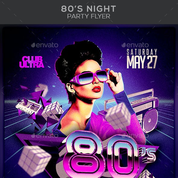 80's Night Party Flyer