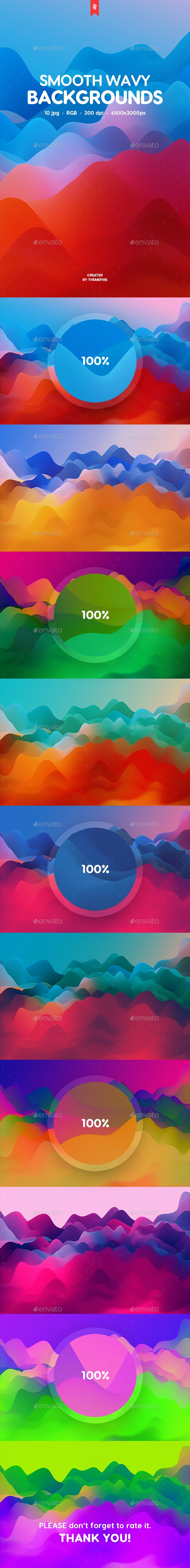 Colorful Smooth Wavy Backgrounds - Abstract Backgrounds