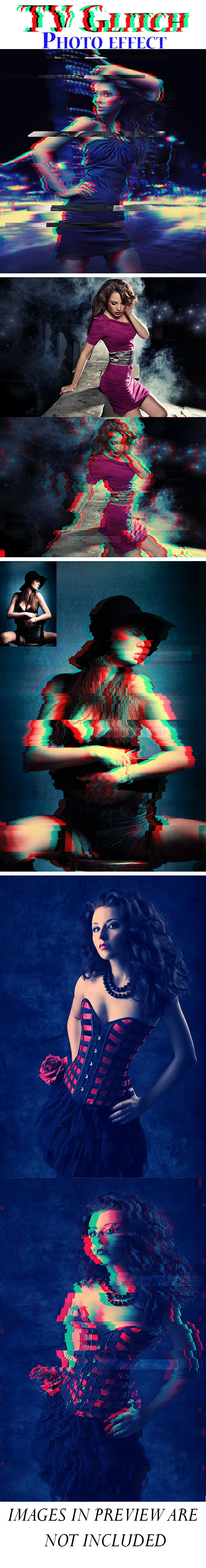 TV Glitch Photoshop Action - Photo Effects Actions