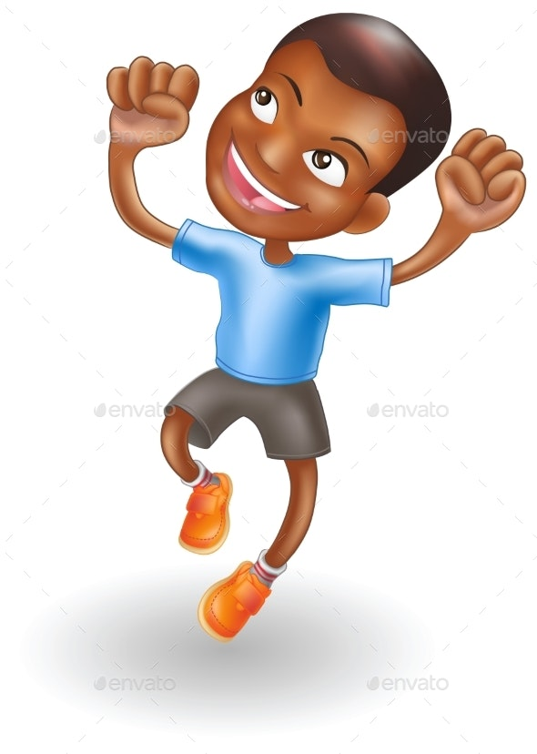 Young Boy Jumping for Joy - People Characters