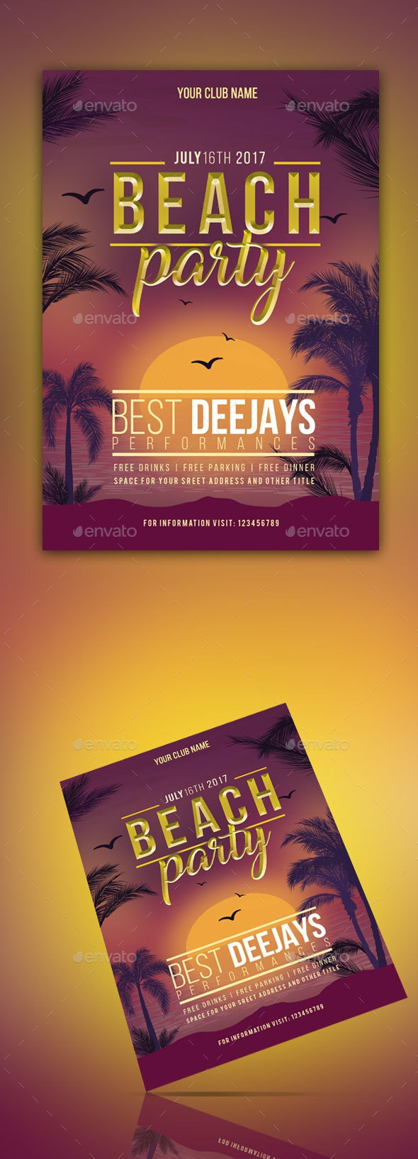 Beach Party Flyer Template - Clubs & Parties Events