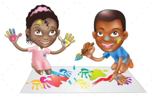 Two Children Playing with Paint - People Characters
