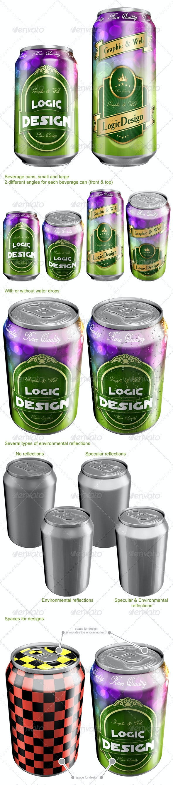 Beverage Cans Mock Up - Food and Drink Packaging