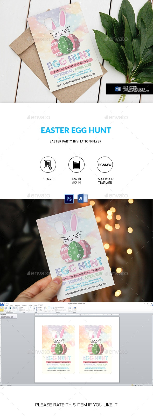Easter Egg Hunt Party Invitation/Flyer - Holidays Events