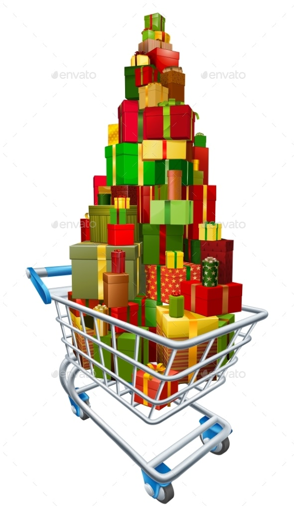 Gift Present Trolley Shopping Cart - Christmas Seasons/Holidays