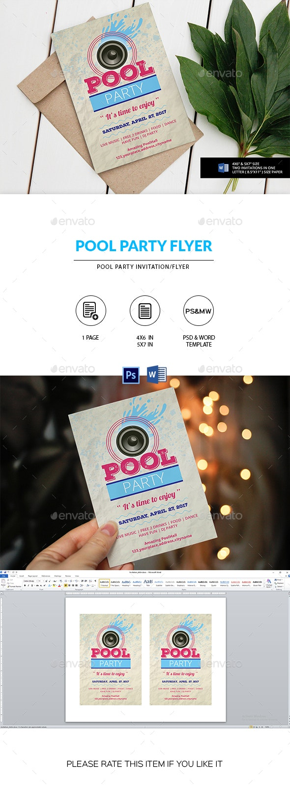 Pool Party Invitation/Flyer - Clubs & Parties Events