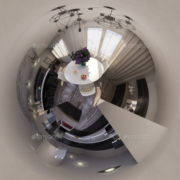 3d Illustration Panorama of Living Room Interior - Architecture 3D Renders