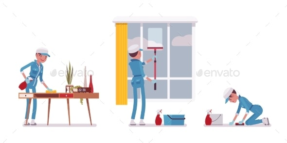 Female Janitor Wiping Indoors - People Characters