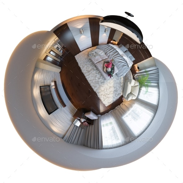 3d Illustration, 360 Seamless Panorama of Bedroom - Architecture 3D Renders